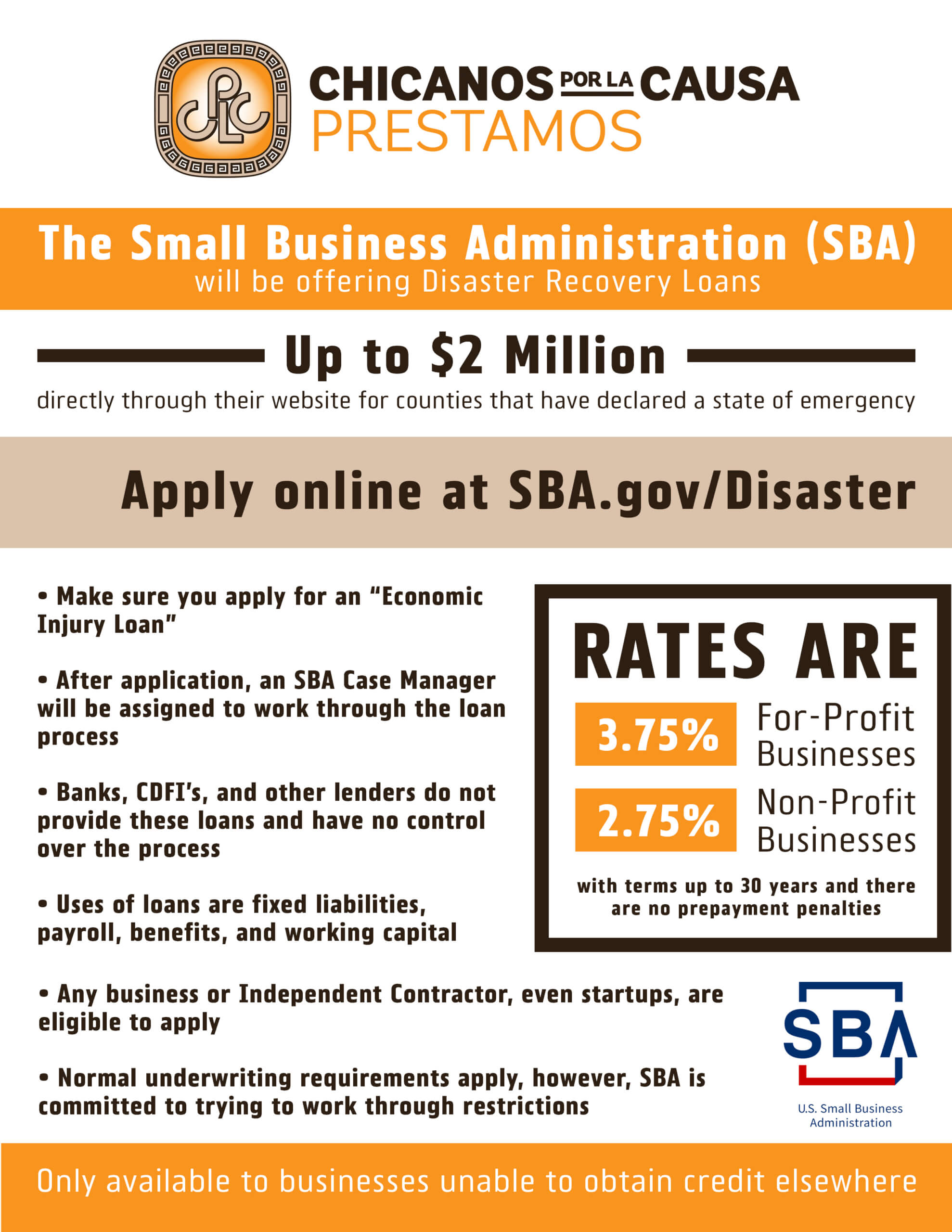 SBA Disaster Recovery Loans Flyer