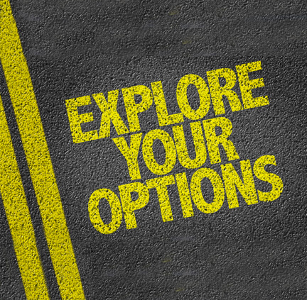 explore your options text on road pavement background
