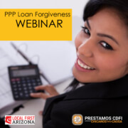 Woman lookin gover shoulder. PPP loan forgiveness webinar. Local first & Prestamos CPLC sponsors.
