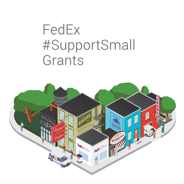 FedEx Support Small Business Grants cartoon of heart snapped business city block