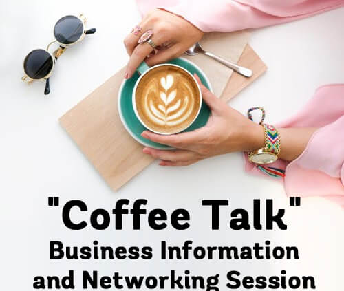 Coffee Talk - woman's arms on table with coffee cup at a Business Information and Networking Session