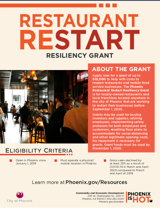 Phoenix Restaurant Restart Resiliency Grant Flyer