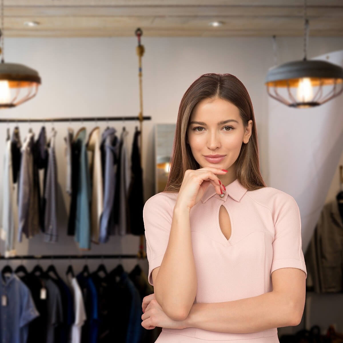Woman in retail clothing store
